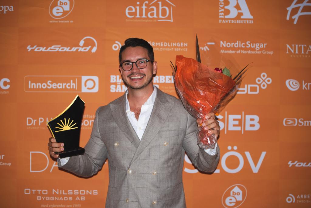 Alexander Lundberg på Ryds Glas Eslöv AB utsågs till årets unga företagare