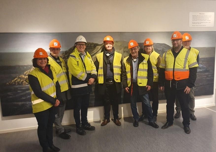 Kommunstyrelsens arbetsutskott på företagsbesök på Nordic Sugar i Örtofta.